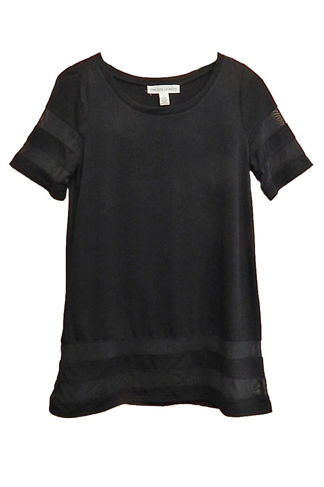 New York Laundry Black Sheer-Trim Top - Front Cropped Image