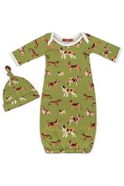 Milkbarn Newborn Hat & Gown Set - Green Dogs - Product Mini Image