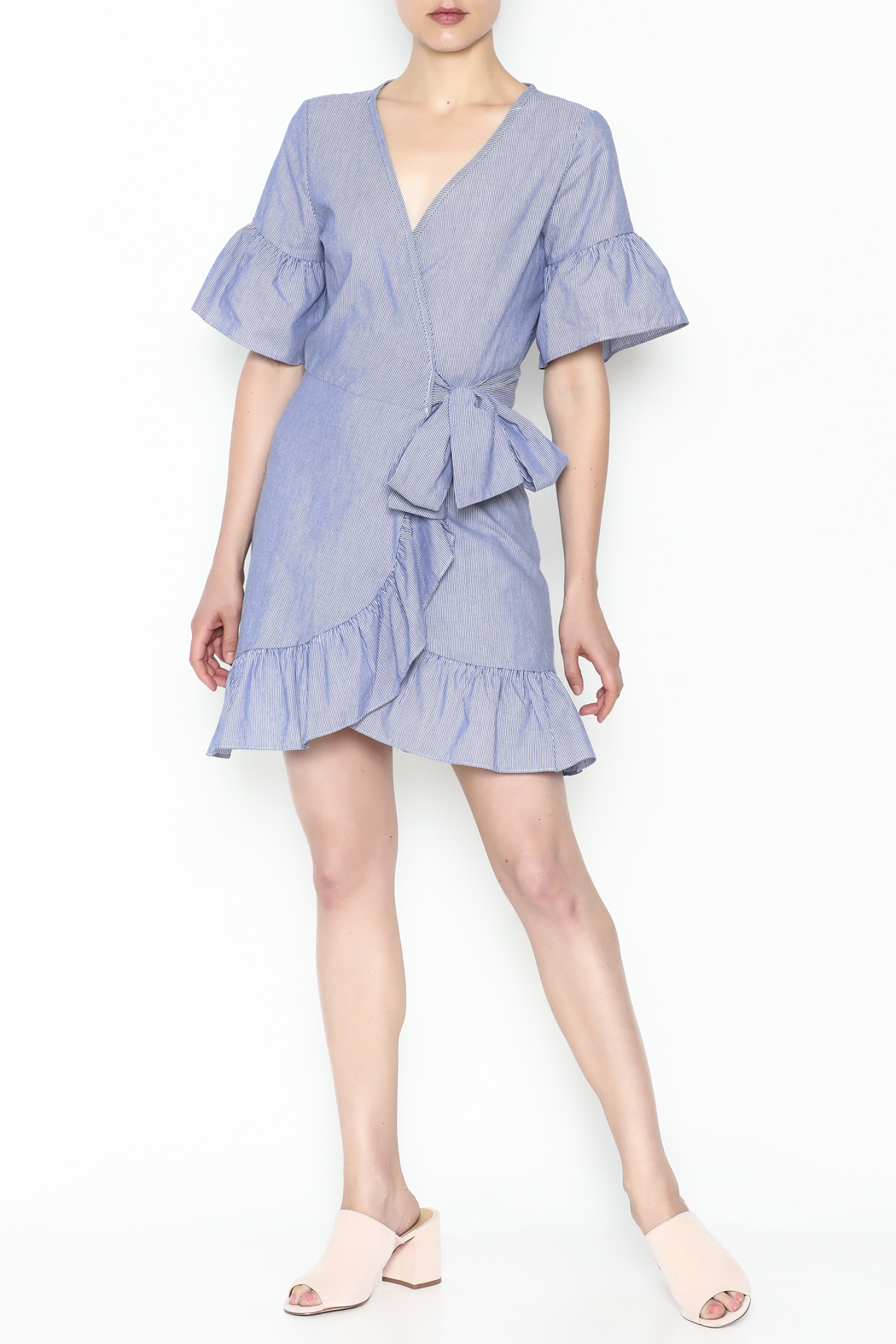 Newbury Kustom Ruffle Wrap Dress - Side Cropped Image