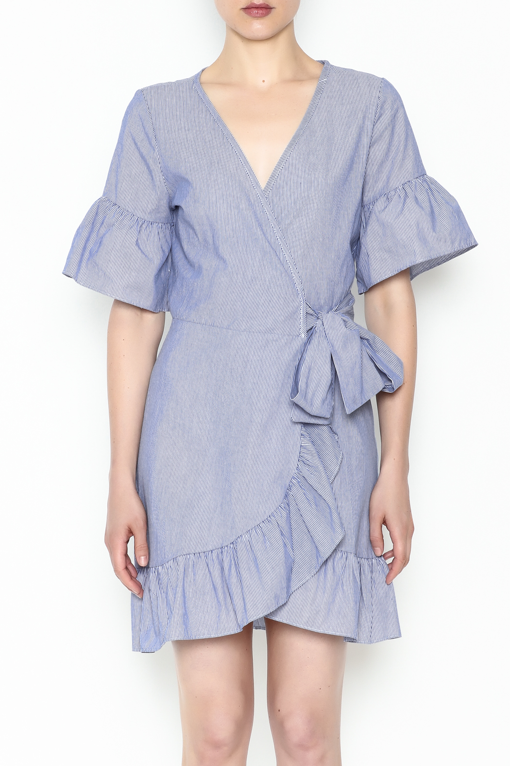 Newbury Kustom Ruffle Wrap Dress - Front Full Image