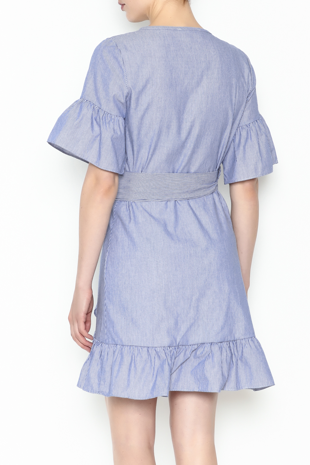 Newbury Kustom Ruffle Wrap Dress - Back Cropped Image