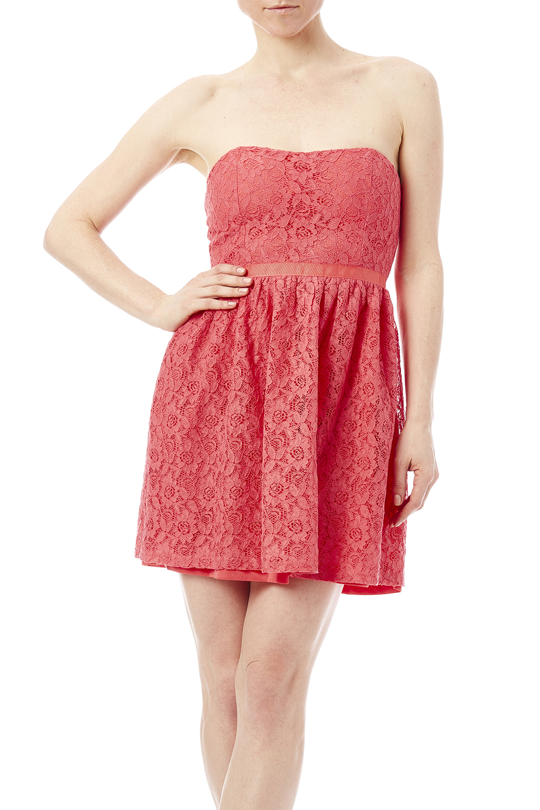 newbury kustom coral lace strapless dress from