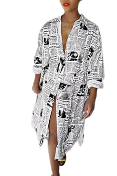 Shoptiques Product: News Print Duster/Dress