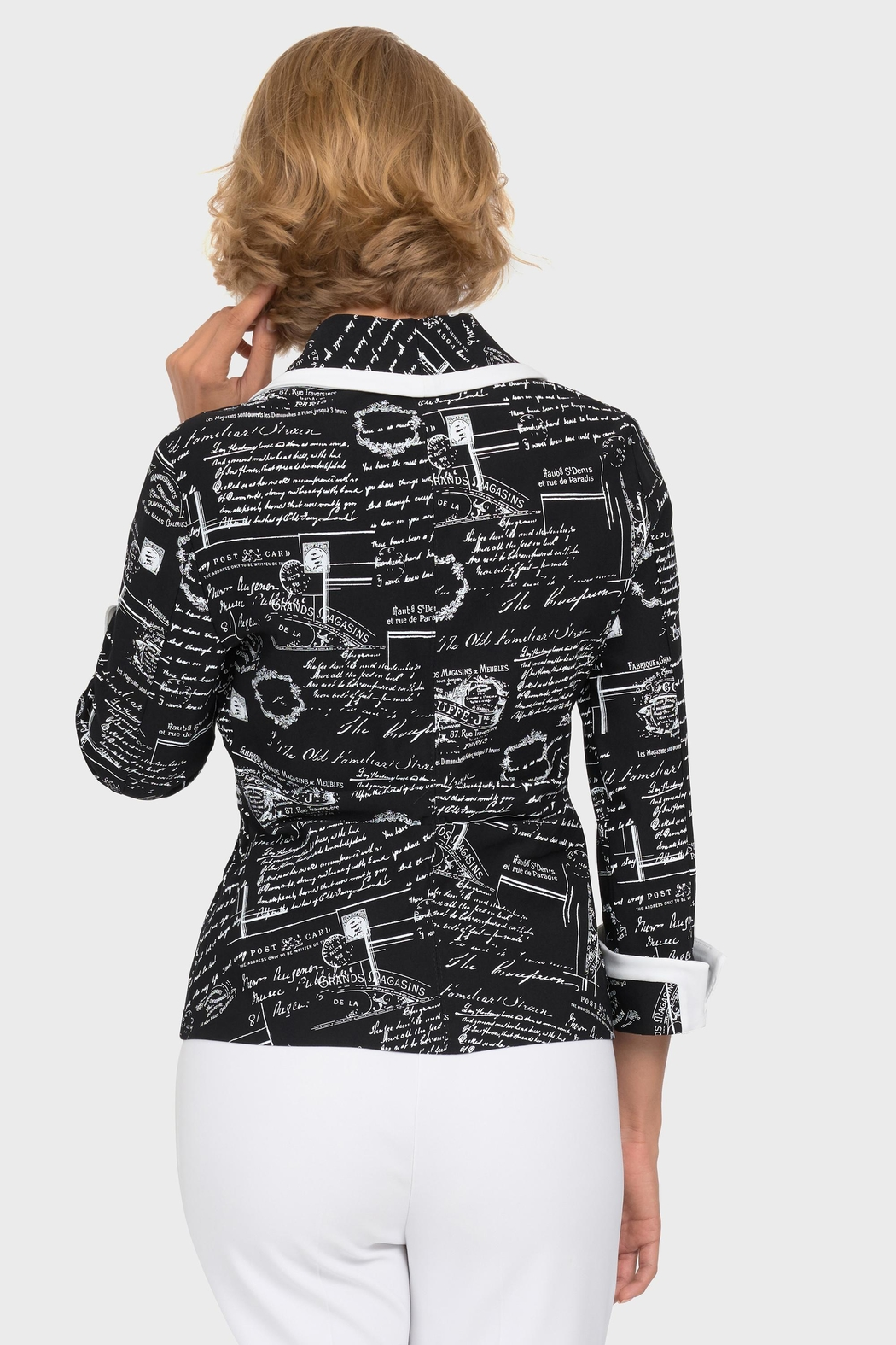 Joseph Ribkoff Newsprint Zipper Jacket - Front Full Image