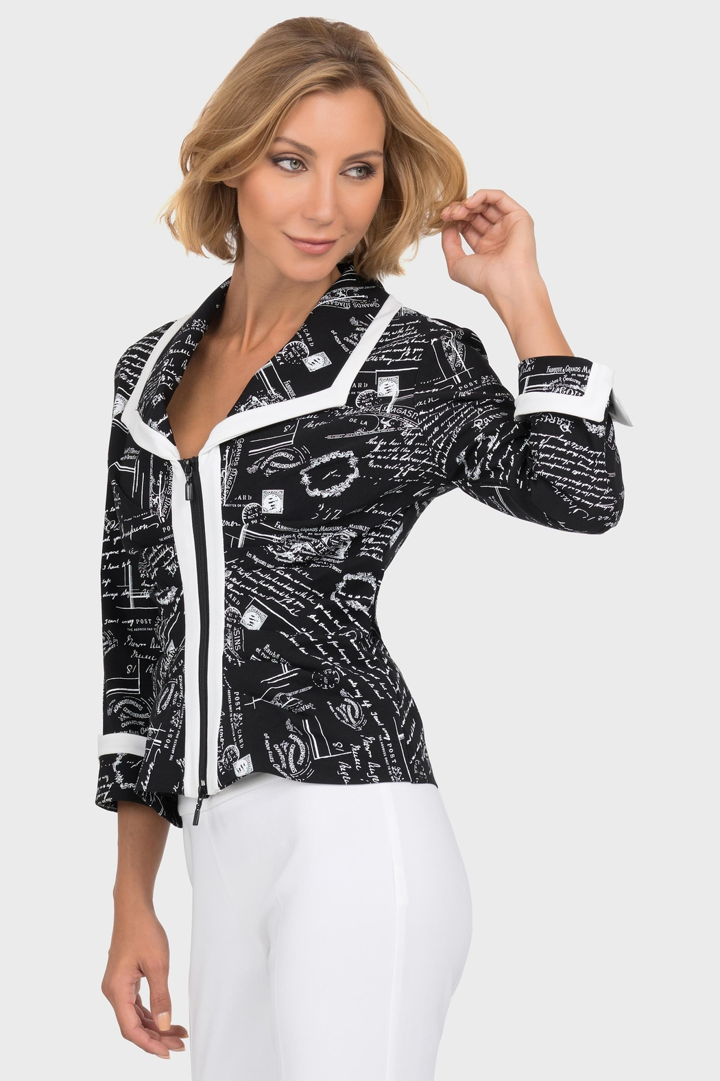 Joseph Ribkoff Newsprint Zipper Jacket - Main Image