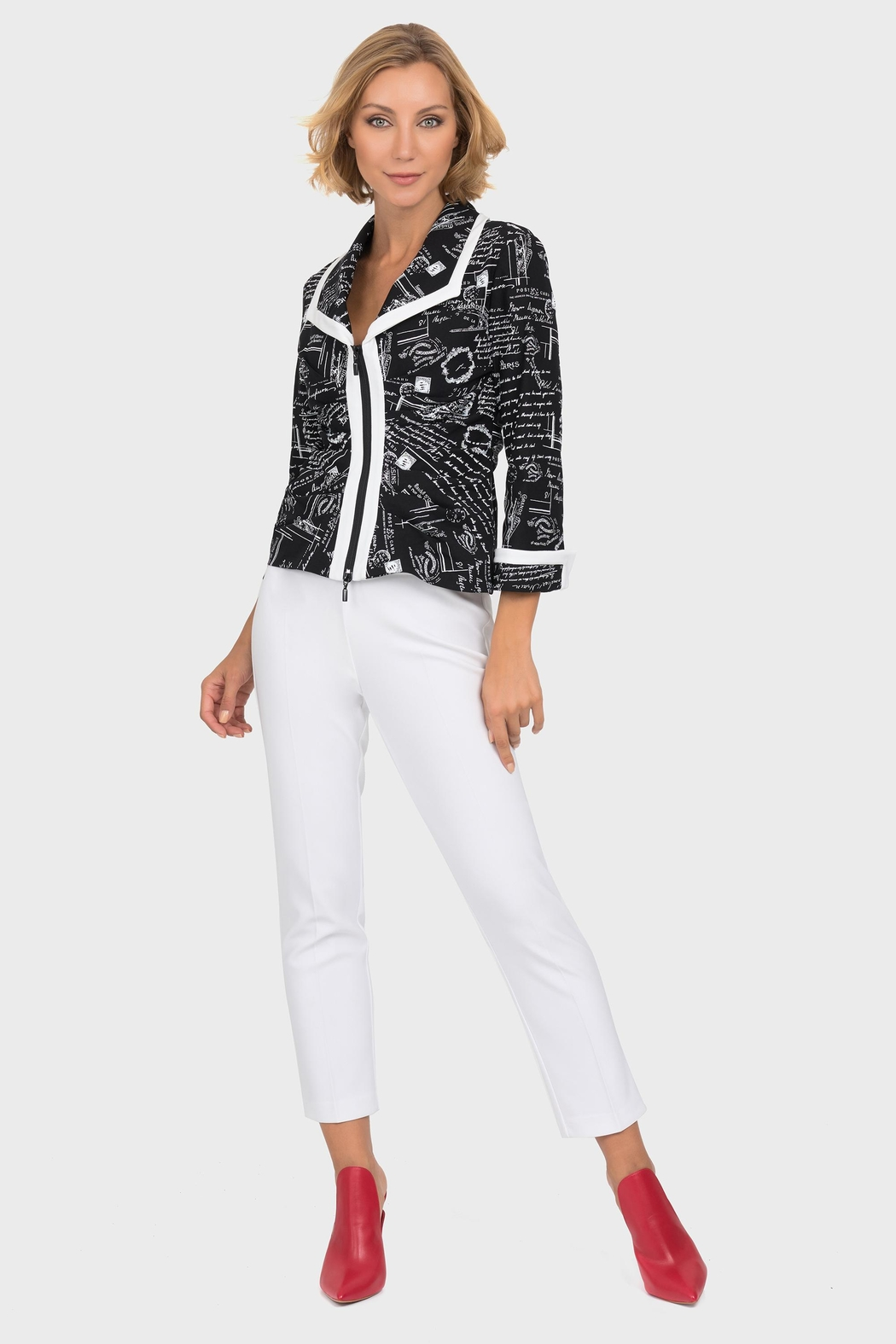 Joseph Ribkoff Newsprint Zipper Jacket - Side Cropped Image