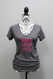 Next Level Wifemomboss V-Neck Shirt - Front cropped