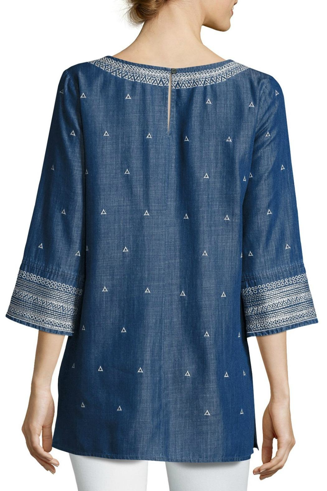 Nic + Zoe Embroidered Denim Tunic Top - Front Full Image