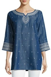 Nic + Zoe Embroidered Denim Tunic Top - Front cropped