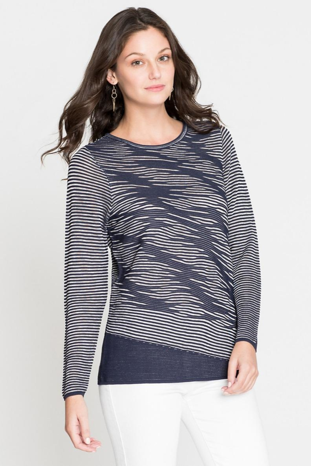 Nic + Zoe Striped Knit Tunic - Front Full Image