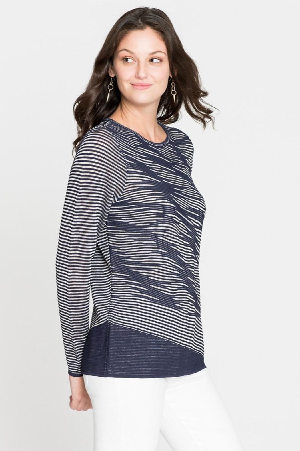Nic + Zoe Striped Knit Tunic - Front Cropped Image
