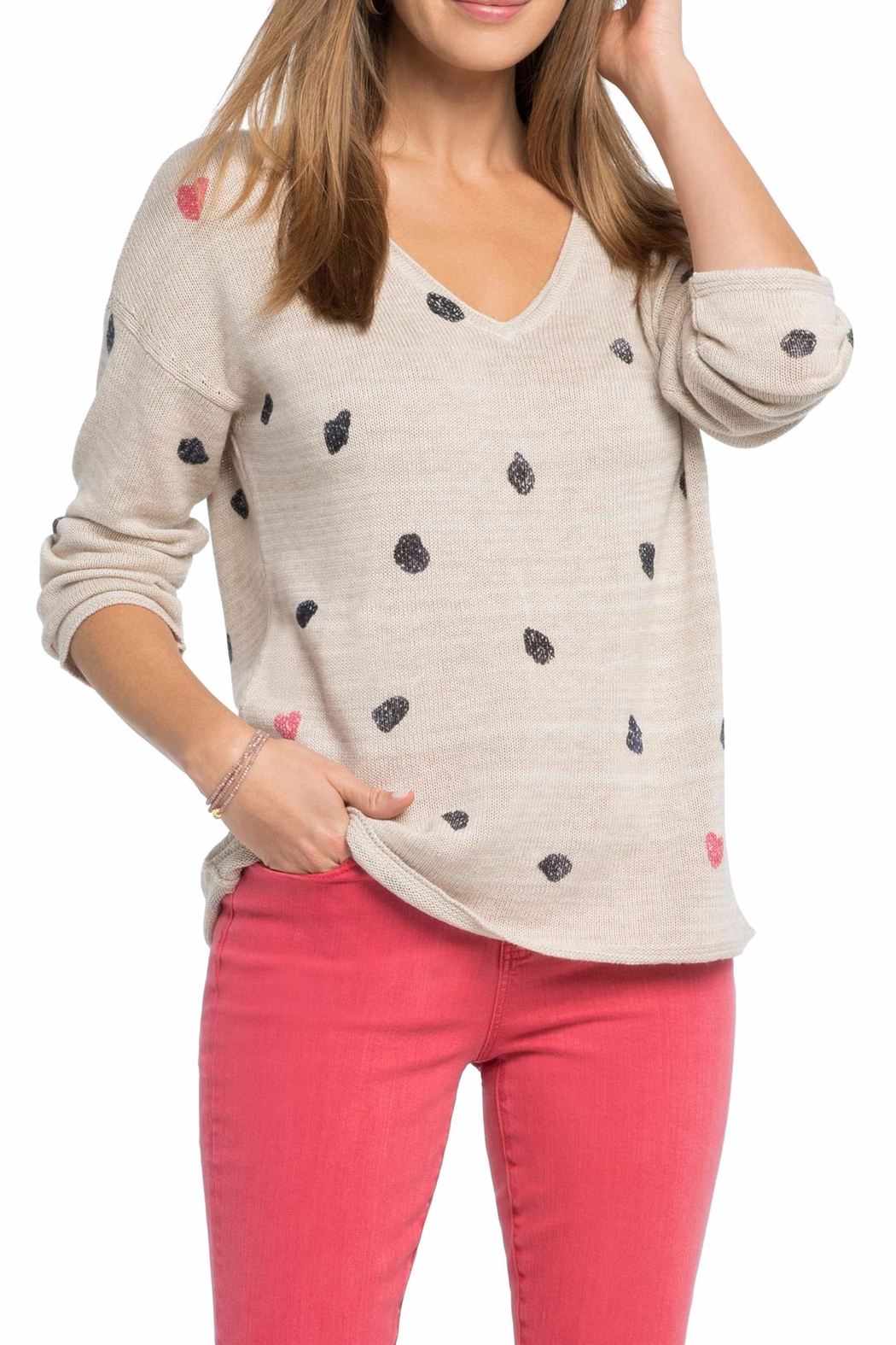 Nic + Zoe Sweetheart Dot Sweater - Front Cropped Image