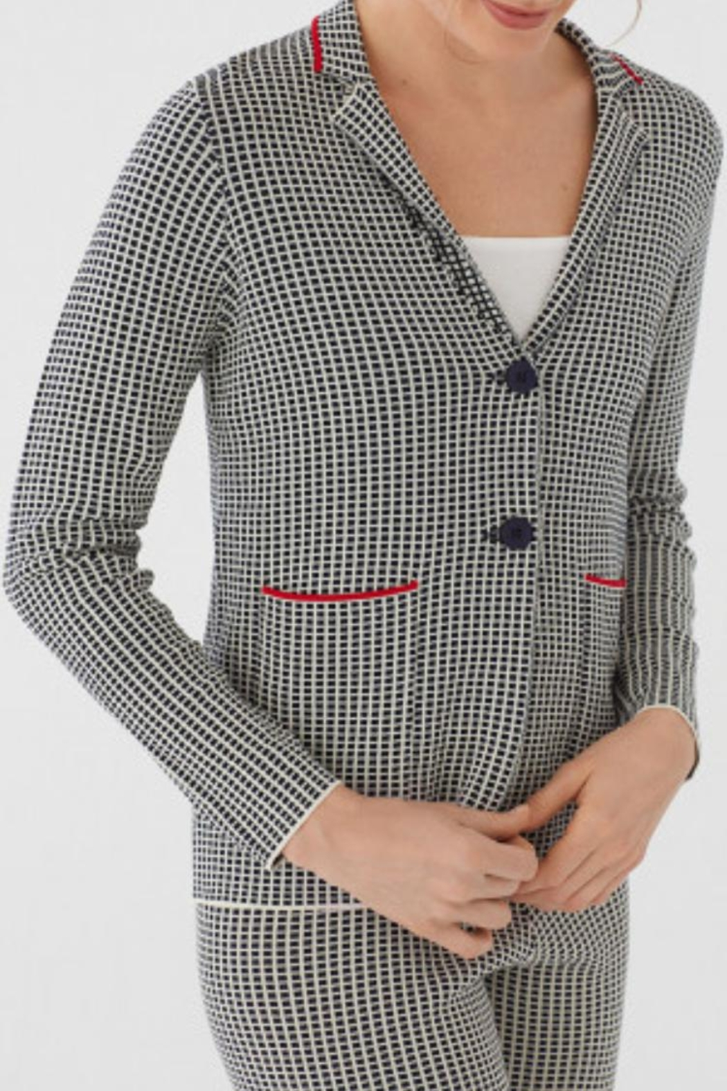 Nice Things Paloma S Minicheck Jacquard Blazer - Front Full Image