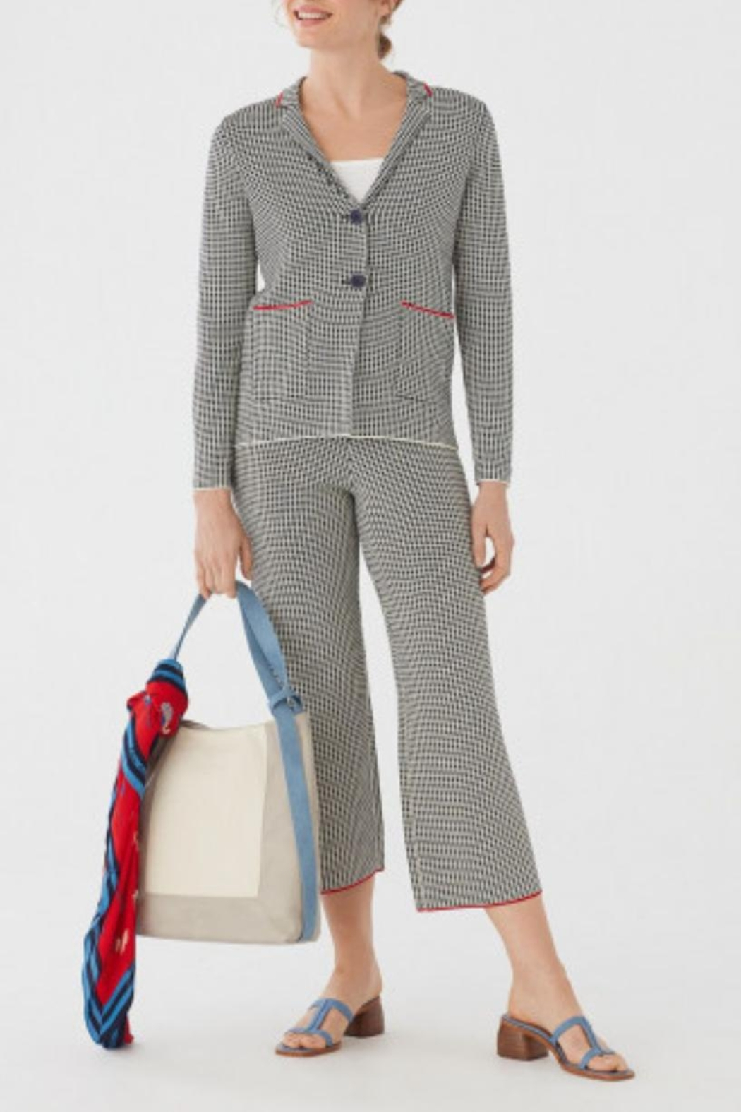 Nice Things Paloma S Minicheck Jacquard Blazer - Front Cropped Image