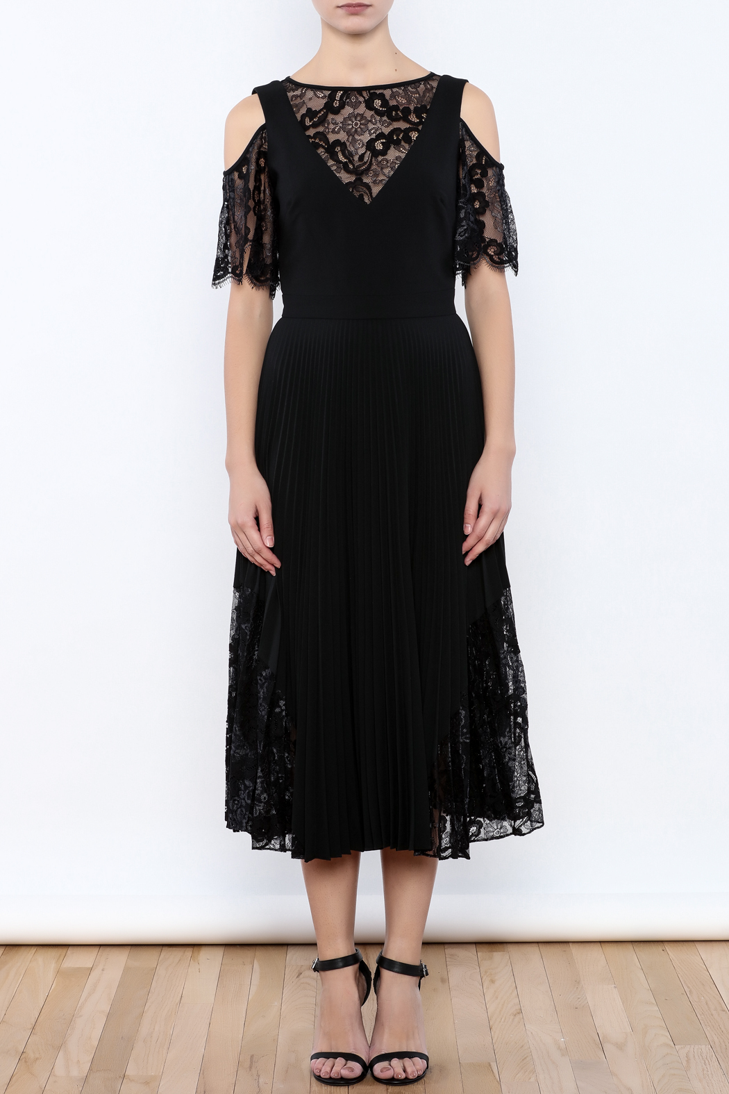 Nicole Miller Black Illusion Dress - Front Cropped Image