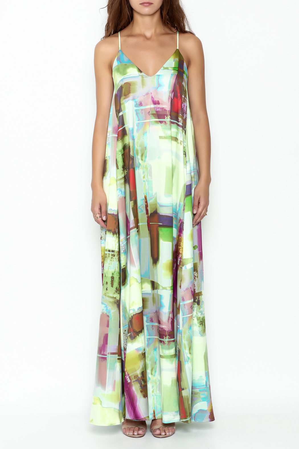 Nicole Miller Watercolor Print Maxi Dress From New
