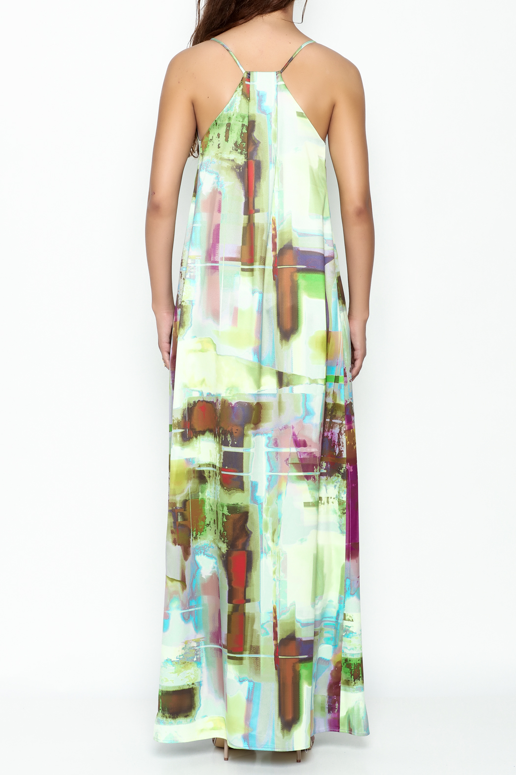 Nicole Miller Watercolor Print Maxi Dress - Back Cropped Image
