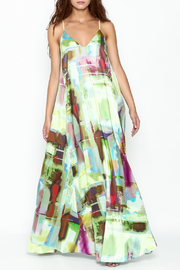 Nicole Miller Watercolor Print Maxi Dress - Front cropped