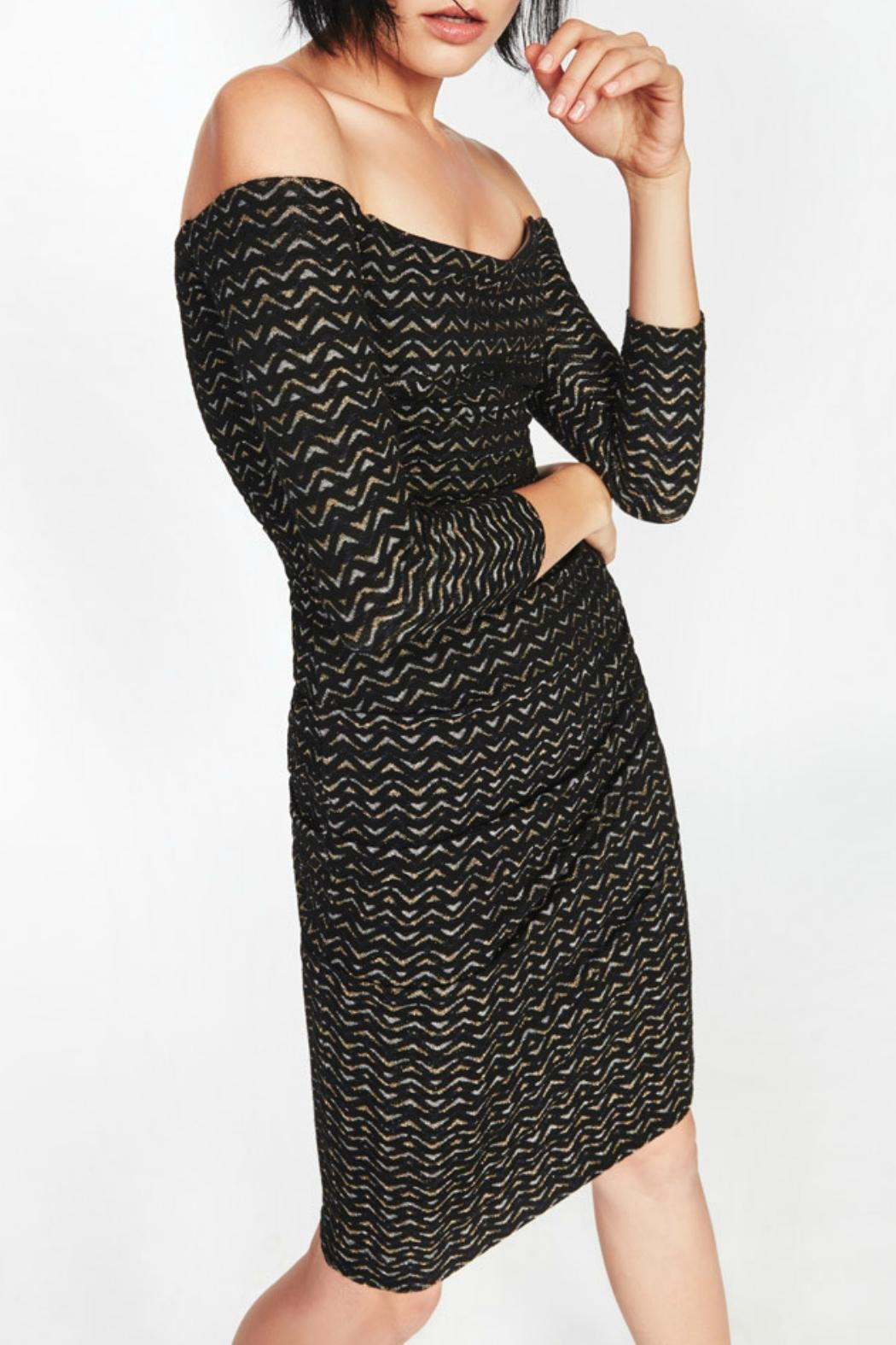 Nicole Miller Gold Zig-Zag Dress - Front Cropped Image