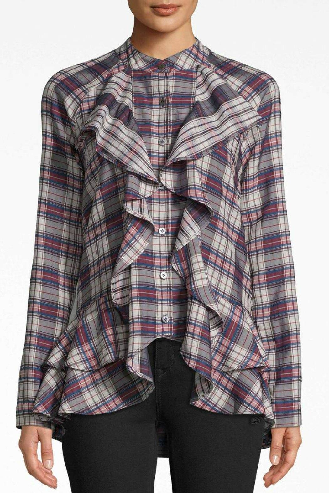 Nicole Miller Plaid Ruffle Shirt - Front Cropped Image