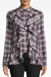 Nicole Miller Plaid Ruffle Shirt - Product Mini Image