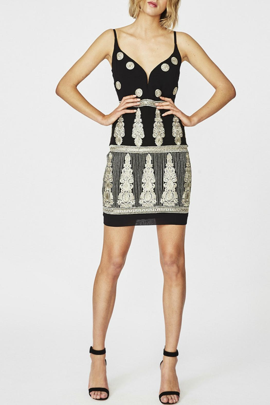 Nicole Miller Plunge Embroidered Dress Front Cropped Image