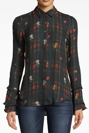 Nicole Miller Ruffle-Sleeve Silk Blouse - Front cropped