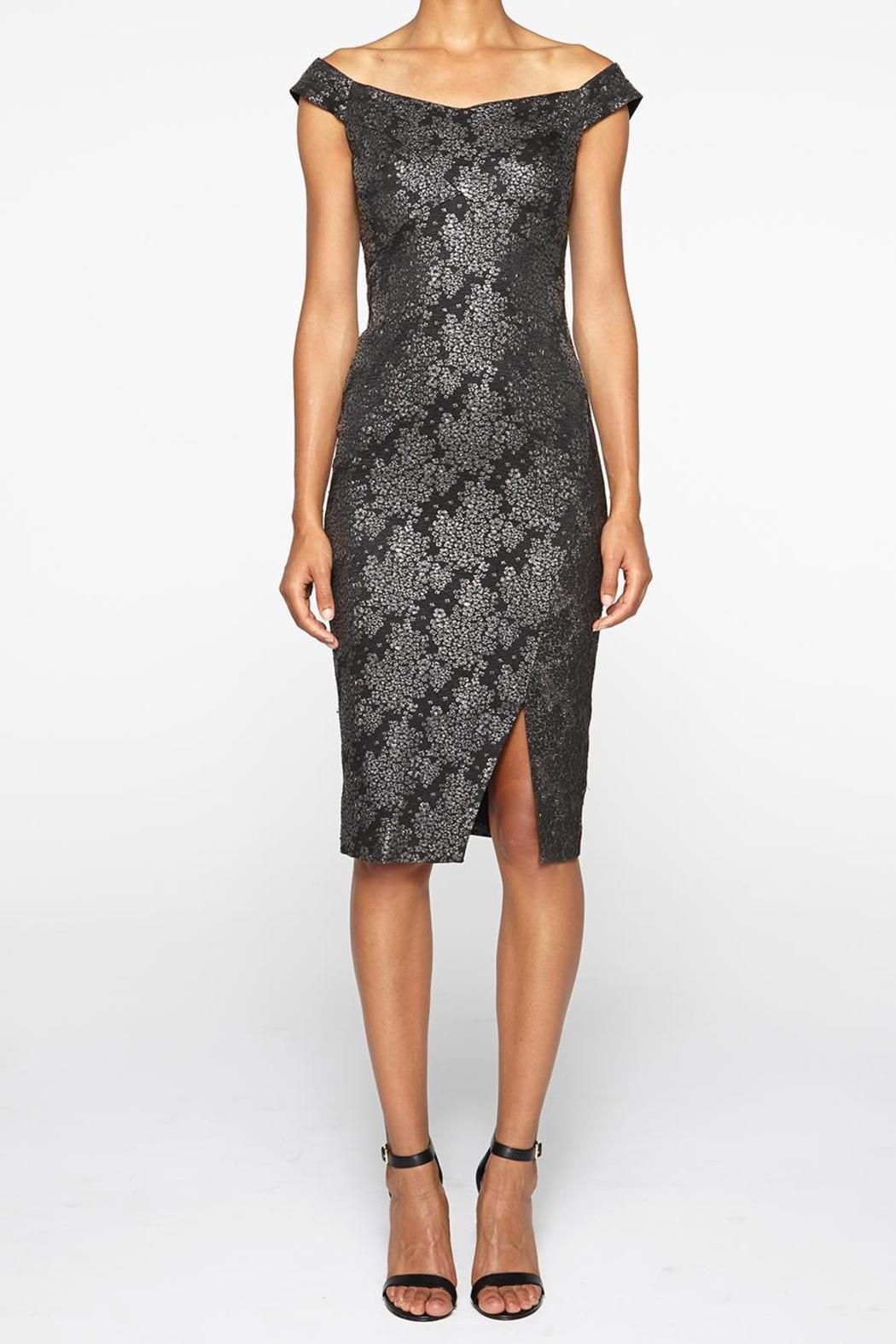 Nicole Miller Boutique Exclusive Brocade Tail Dress Front Cropped Image