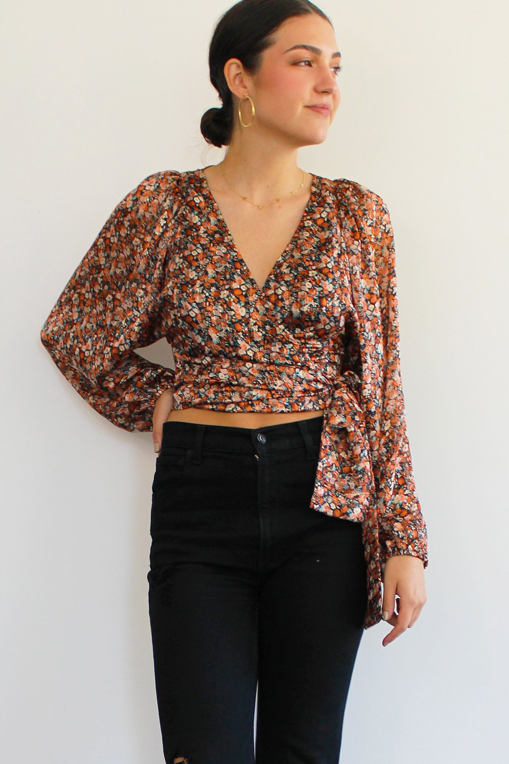 RESET BY JANE Nicolette Wrap Top - Front Cropped Image