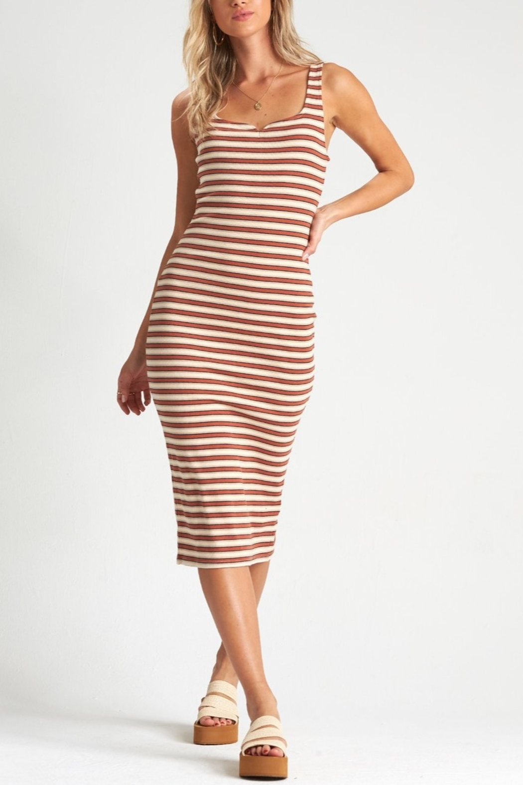 Billabong Night Moves Stripe Dress - Front Cropped Image