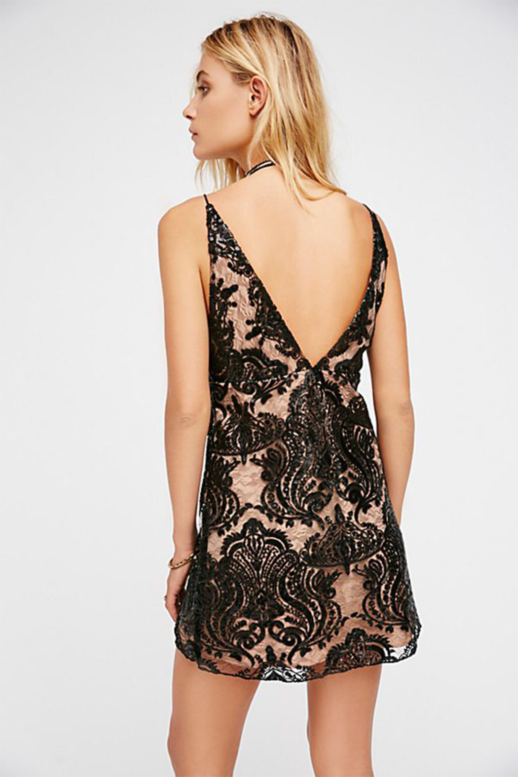 Free People Night Shimmers Mini Dress - Front Full Image