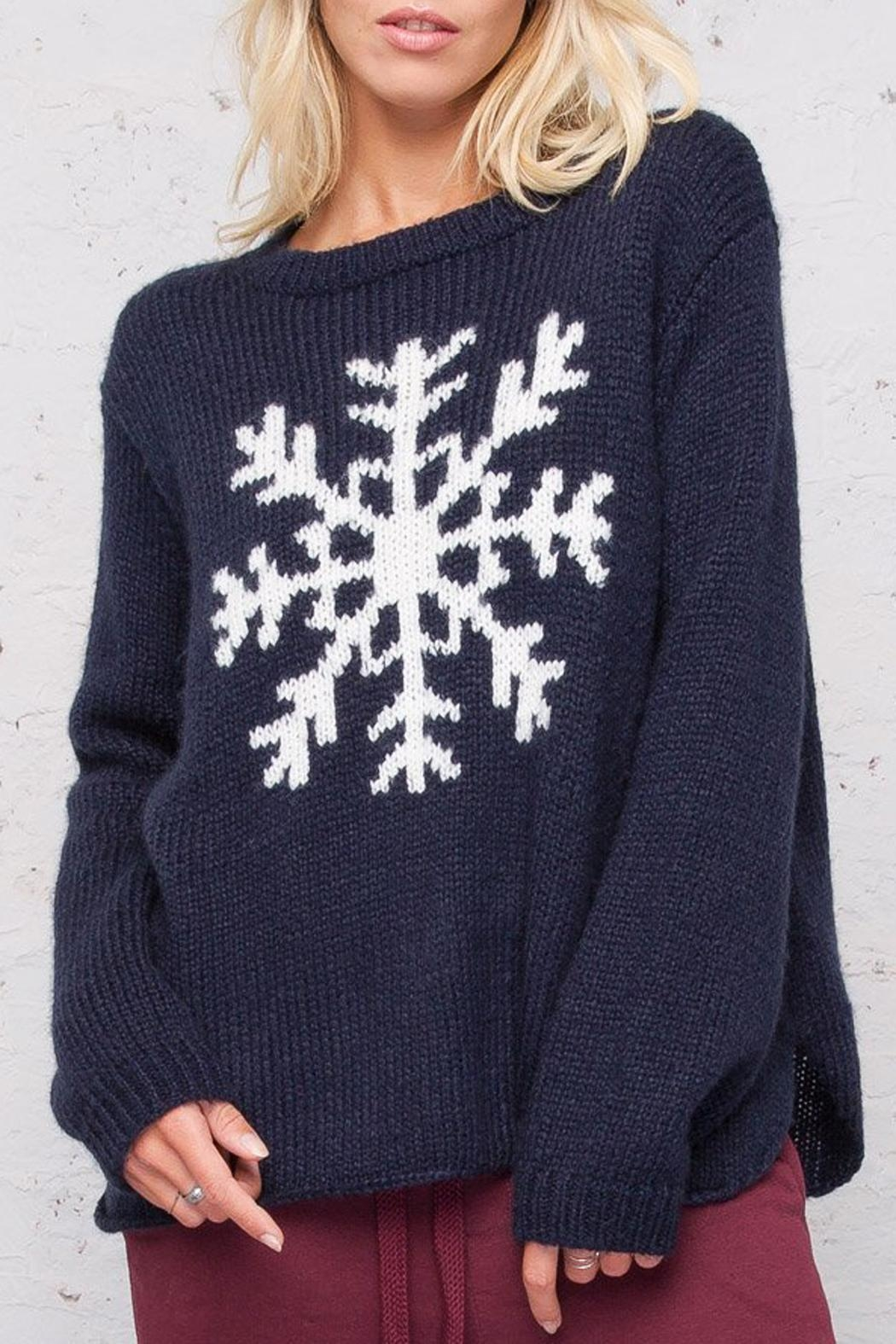 Wooden Ships Night Snowflake Crewneck - Front Cropped Image