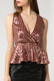 Adelyn Rae Niki Sequin Peplum Top - Front cropped