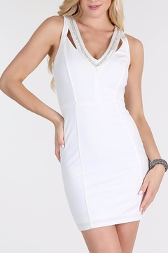 Shoptiques Product: Beaded V Neck Dress