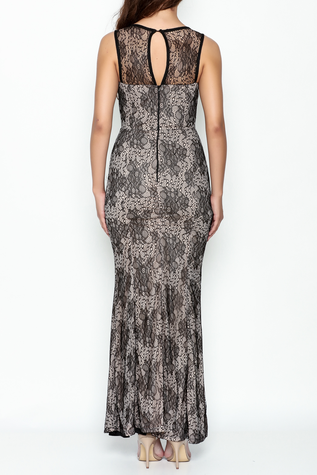 Nikibiki Long Lace Dress - Back Cropped Image
