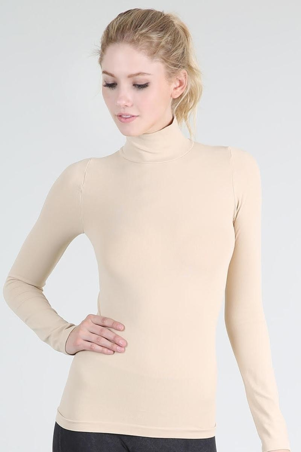 Nikibiki Long Sleeve Mock Neck Top - Main Image