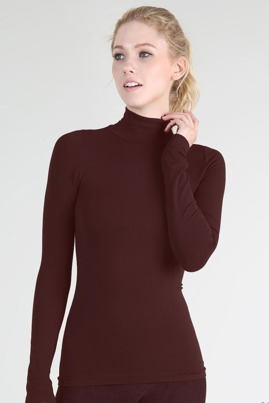 Nikibiki Long Sleeve Mock Neck Top - Front Cropped Image