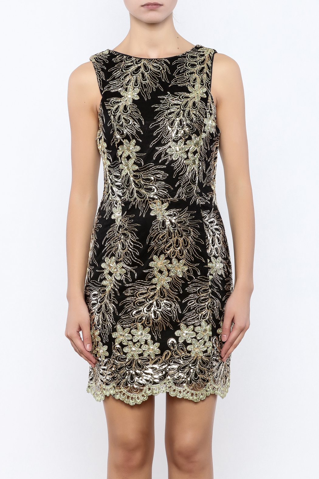 Nikibiki Metallic Lace Dress - Side Cropped Image