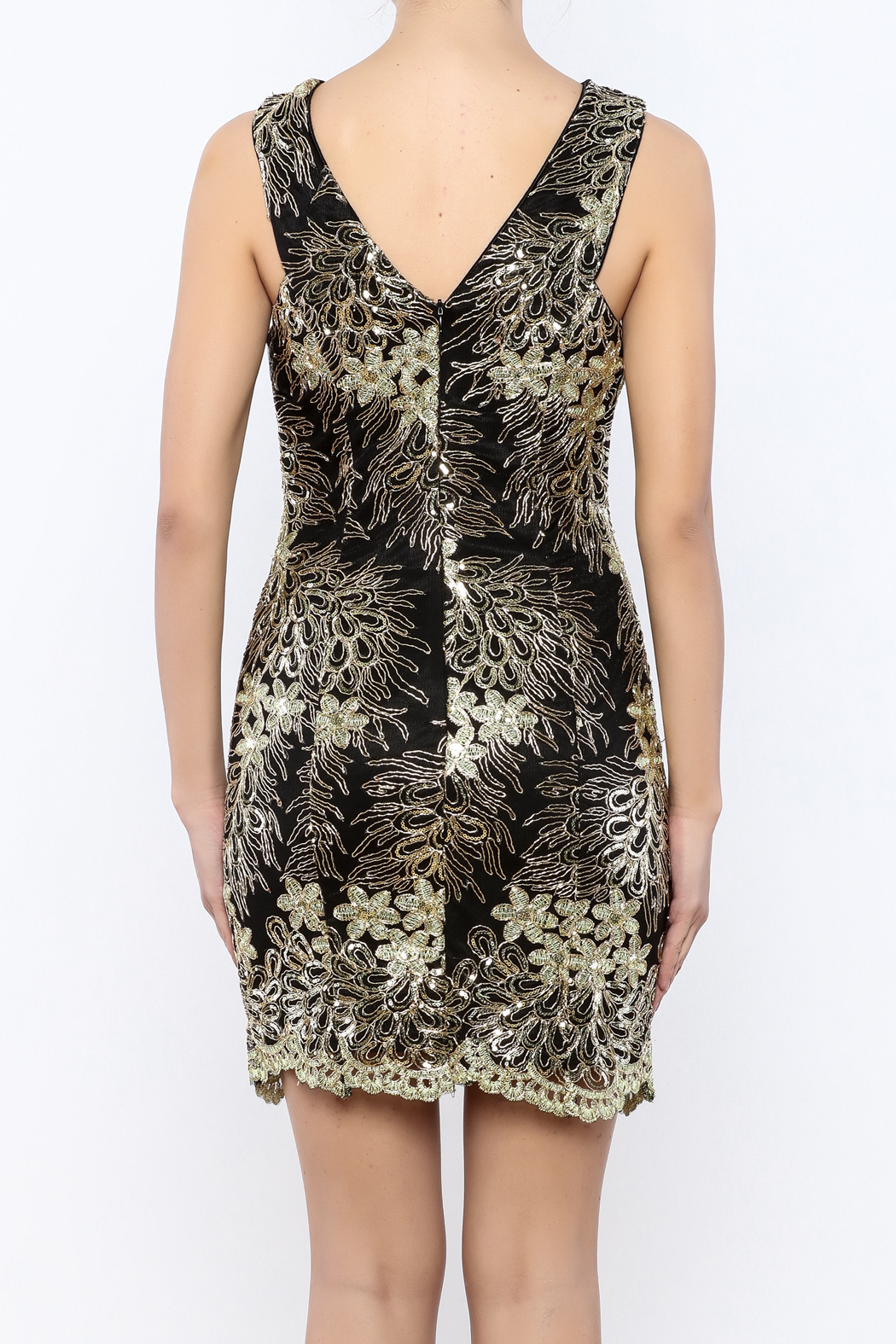 Nikibiki Metallic Lace Dress - Back Cropped Image