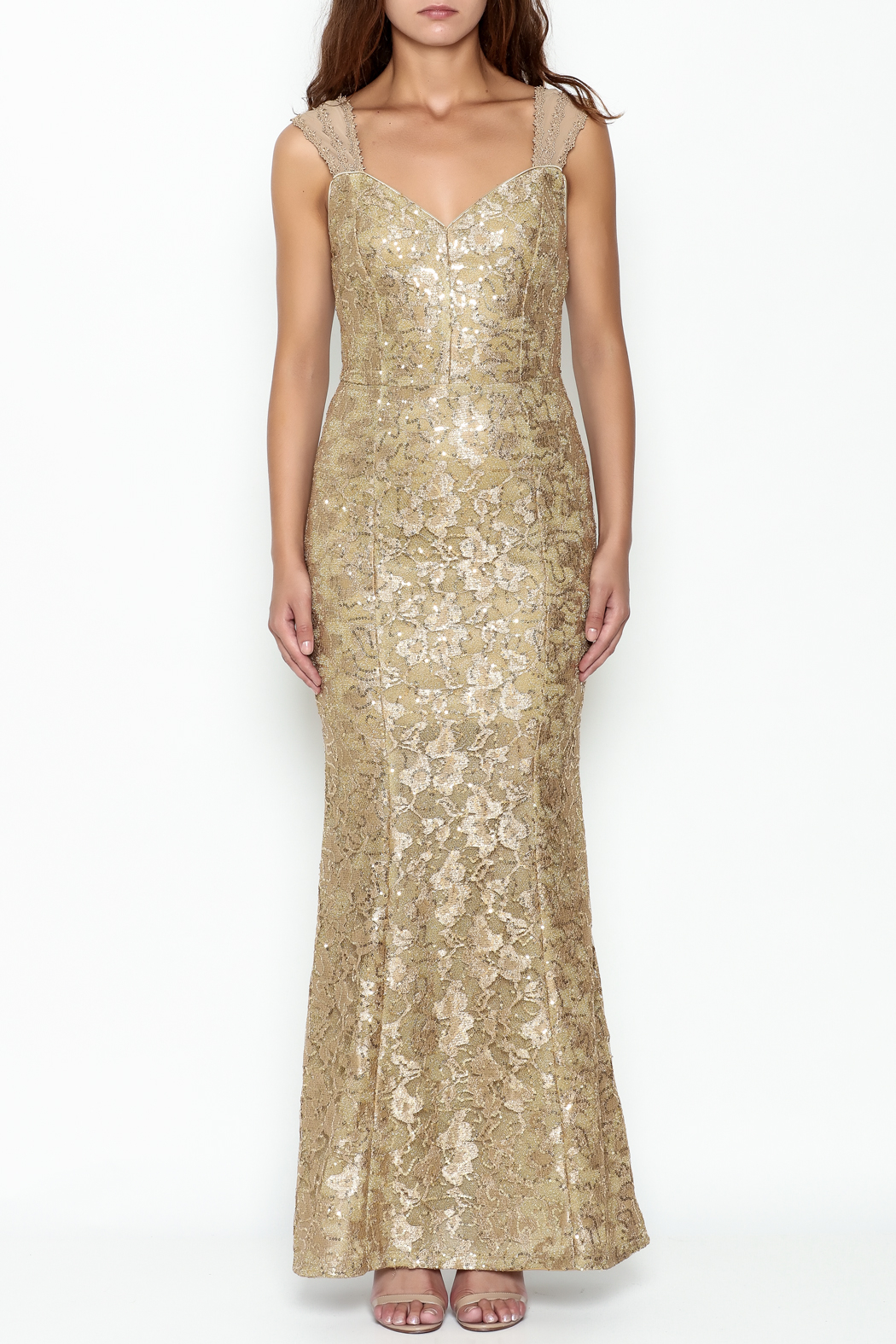Nikibiki Gold Lace Dress - Front Full Image