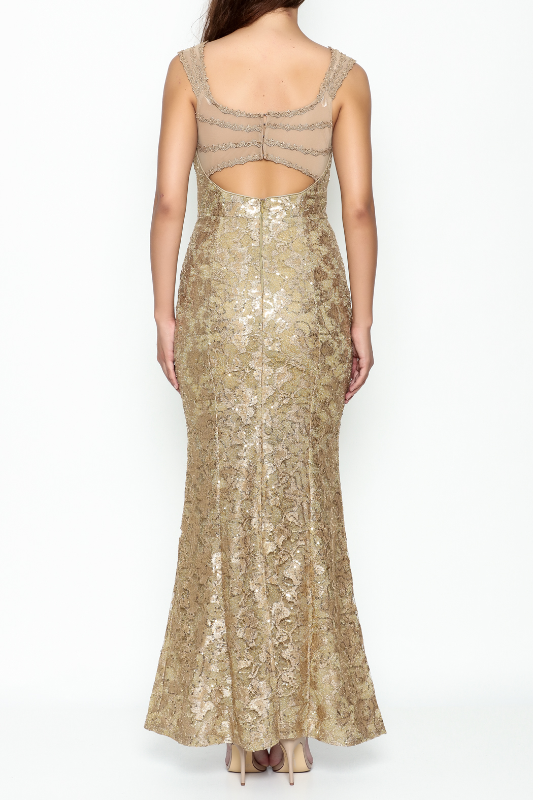Nikibiki Gold Lace Dress - Back Cropped Image