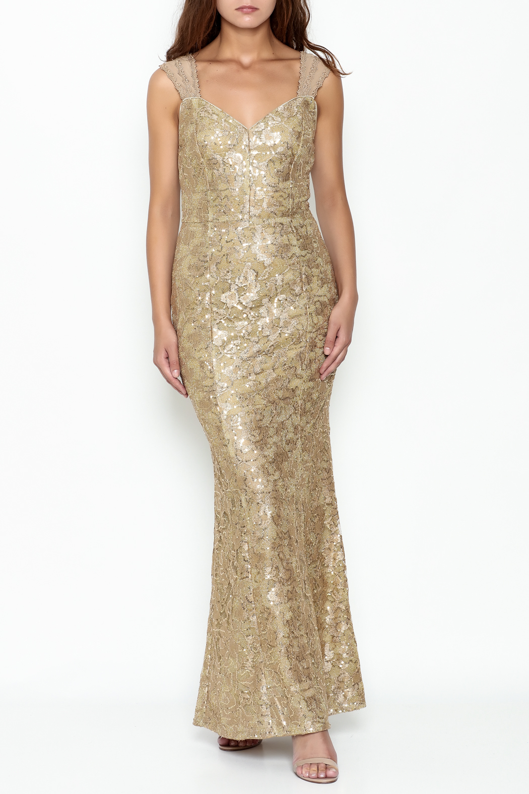 Nikibiki Gold Lace Dress - Main Image
