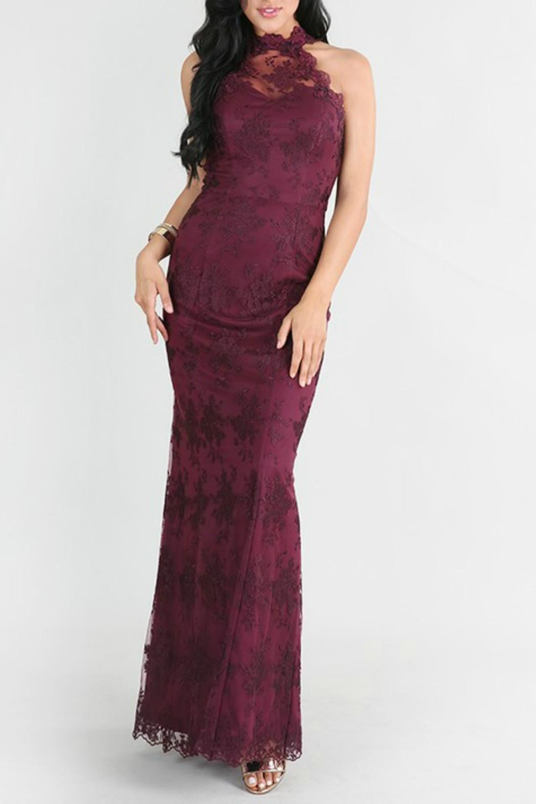 Nikibiki Plum Lace Gown from Wilmington by The Dress Shop Wilmington ...
