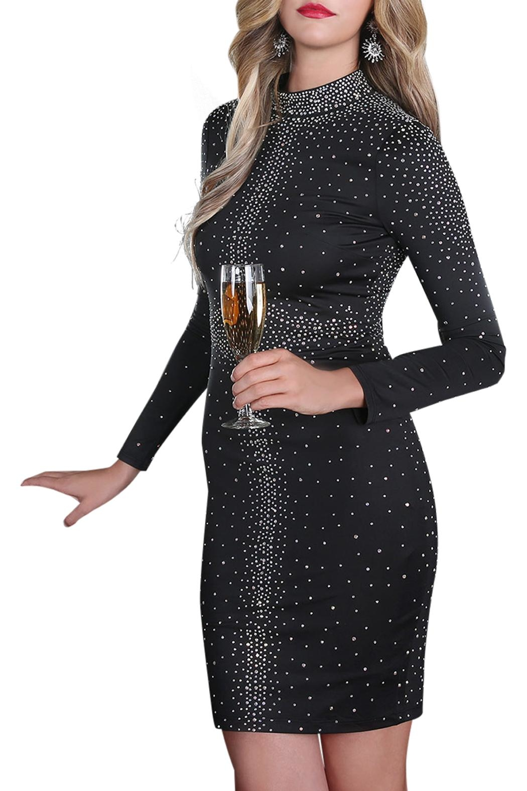 Nikibiki Rhinestone Black Dress - Front Cropped Image