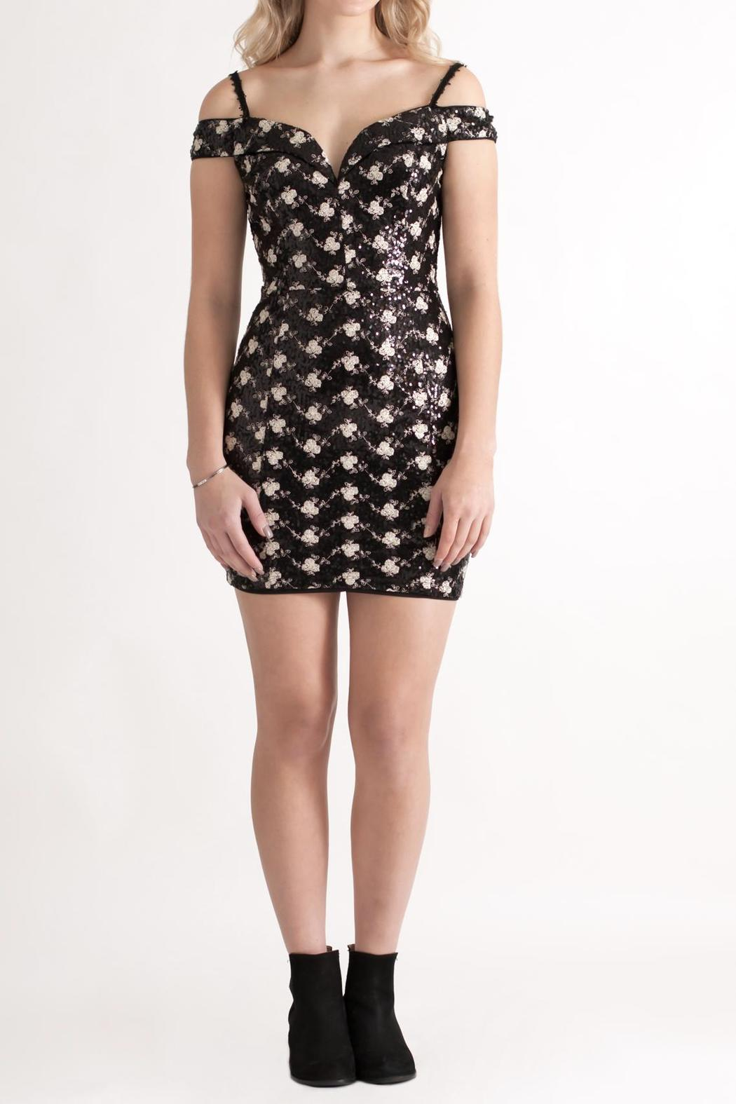 Nikibiki Sequin Embroidered Dress - Front Full Image