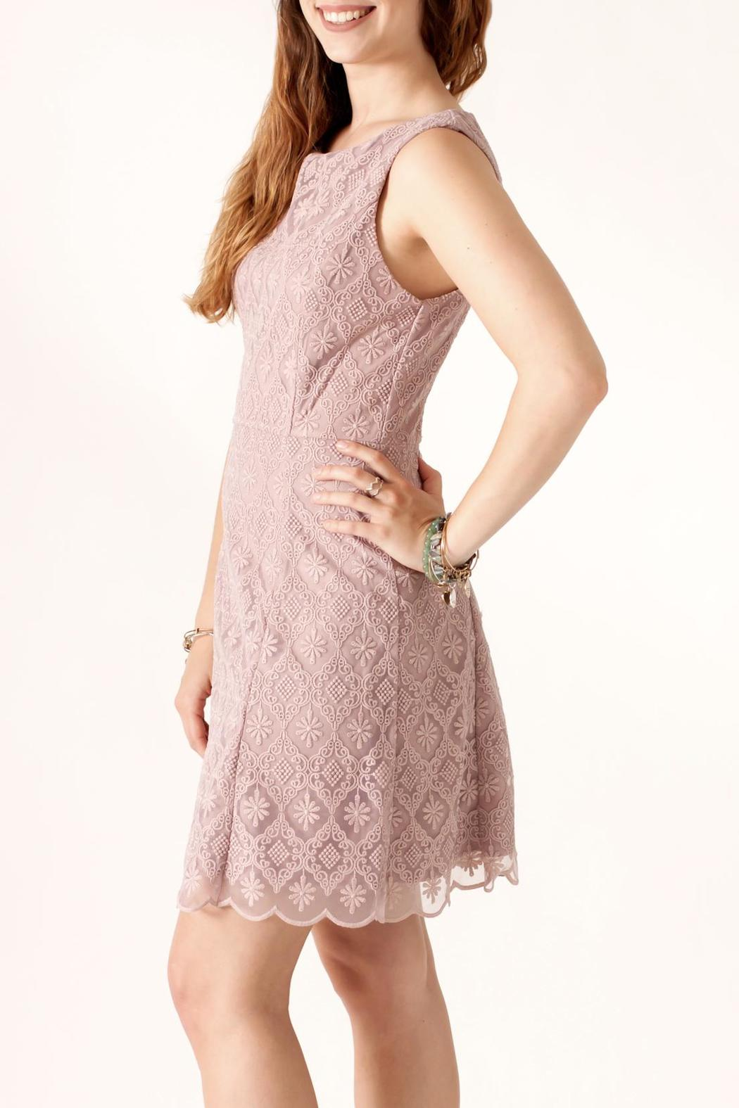 Nikibiki Tile-Lace Embroidered Dress - Side Cropped Image