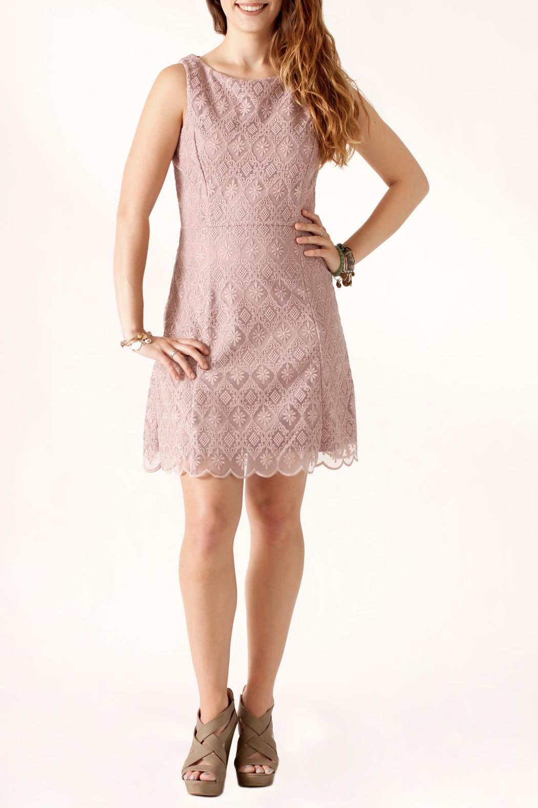 Nikibiki Tile-Lace Embroidered Dress - Front Full Image