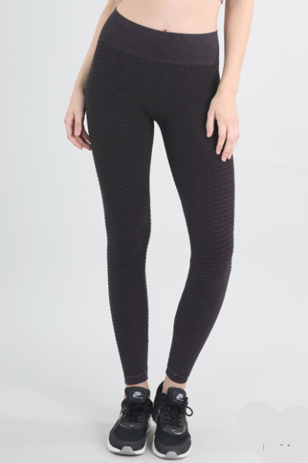 Nikibiki Wave Texture Leggings - Front Cropped Image
