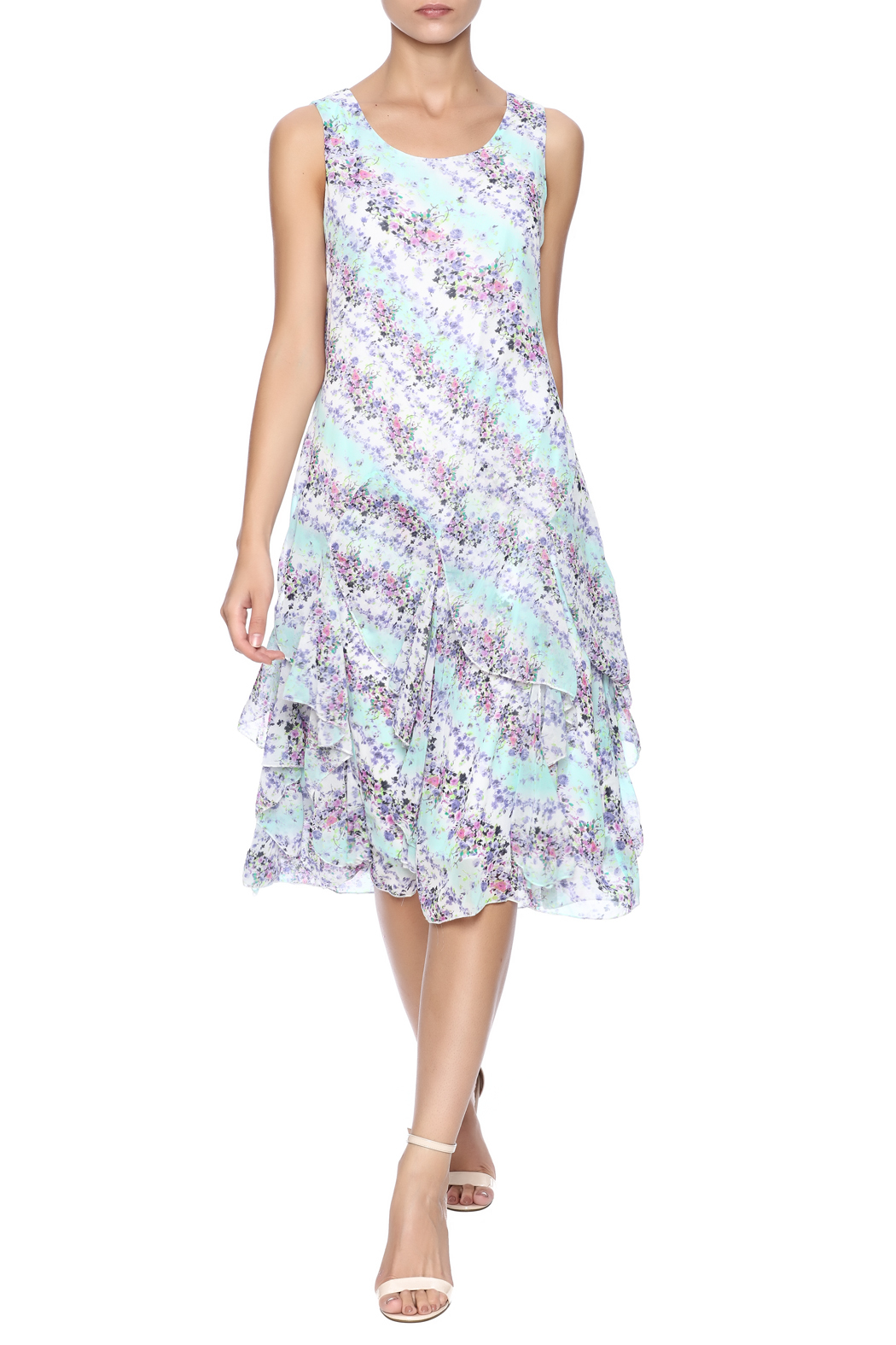 Nina Leonard Two Piece Floral Dress - Main Image