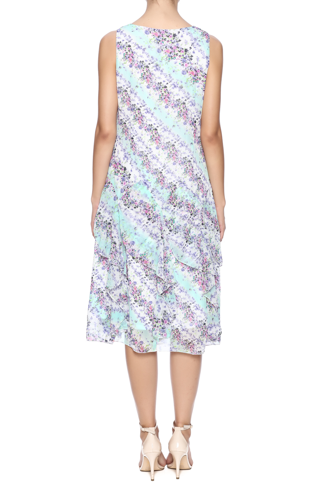 Nina Leonard Two Piece Floral Dress - Back Cropped Image
